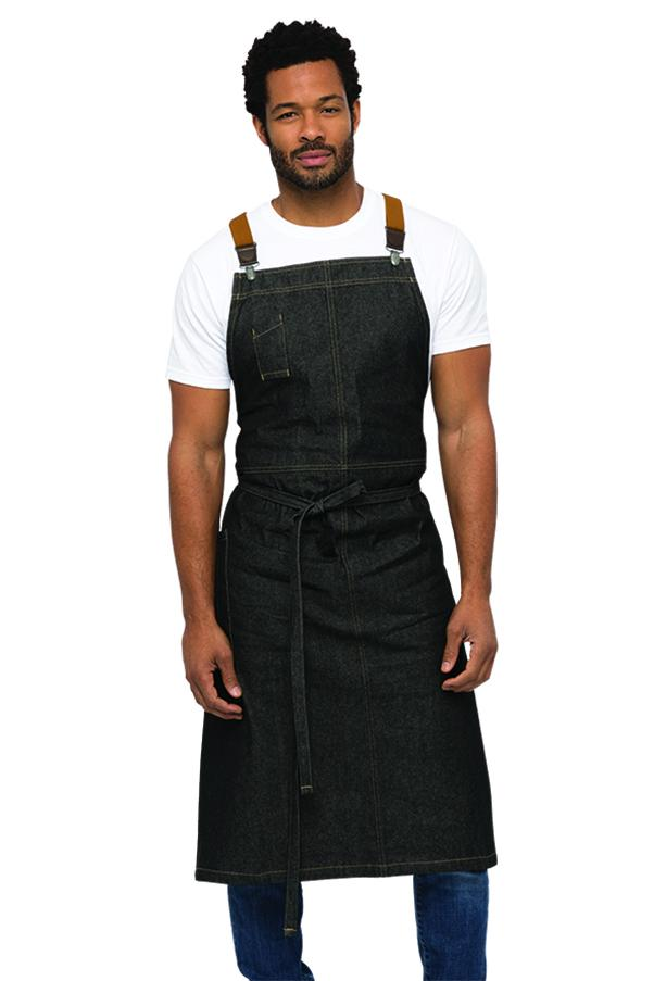Berkeley Black Denim Chef's Bib Apron