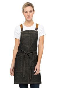 Berkeley Womens Black Denim Petite Bib Apron