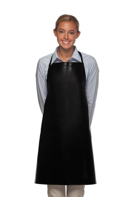 Black No Pocket Adjustable Vinyl Bib Apron