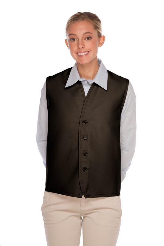 Black 4-Button Unisex Vest with No Pockets