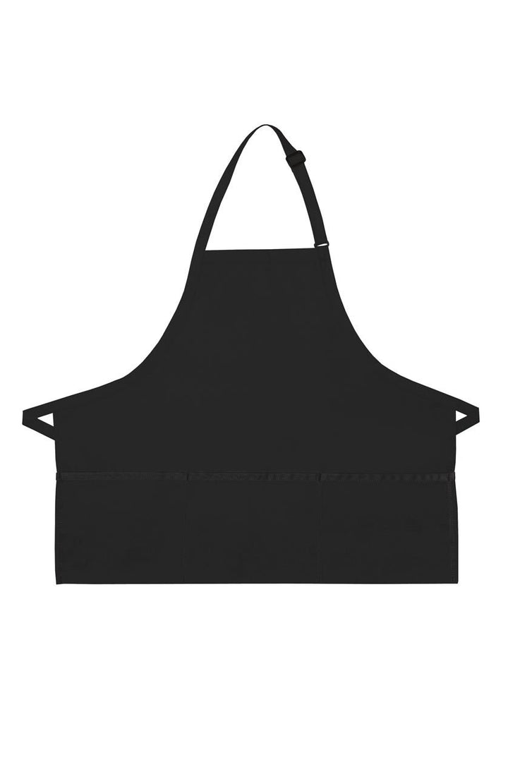 Black Deluxe Bib XL Adjustable Apron (3 Pockets)