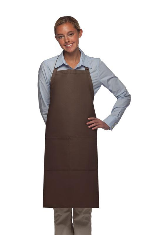 Brown 2 Pocket Adjustable Bib Apron