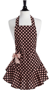 Brown and Pink Polka Dot Apron