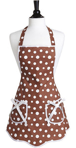 Brown and White Polka Dots Bib Apron