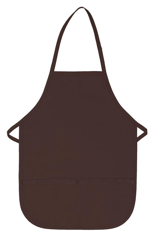 Brown Kid's XL Bib Apron (2 Pockets)
