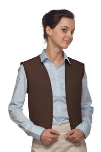 Brown No Buttons Unisex Vest with No Pockets