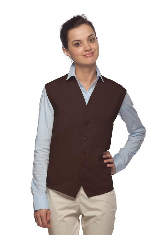 Brown 4-Button Unisex Vest with 1 Pocket