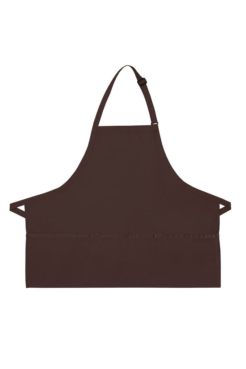 Brown Deluxe Bib XL Adjustable Apron (3 Pockets)