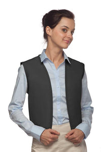 Charcoal No Buttons Unisex Vest with No Pockets