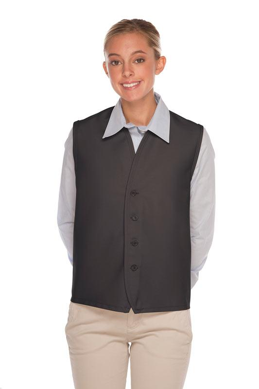 Charcoal 4-Button Unisex Vest with No Pockets