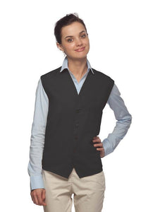 Charcoal 4-Button Unisex Vest with 1 Pocket