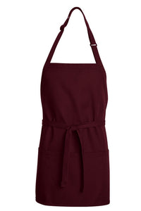 Burgundy Premium Short Bib Adjustable Apron (3 Pockets)
