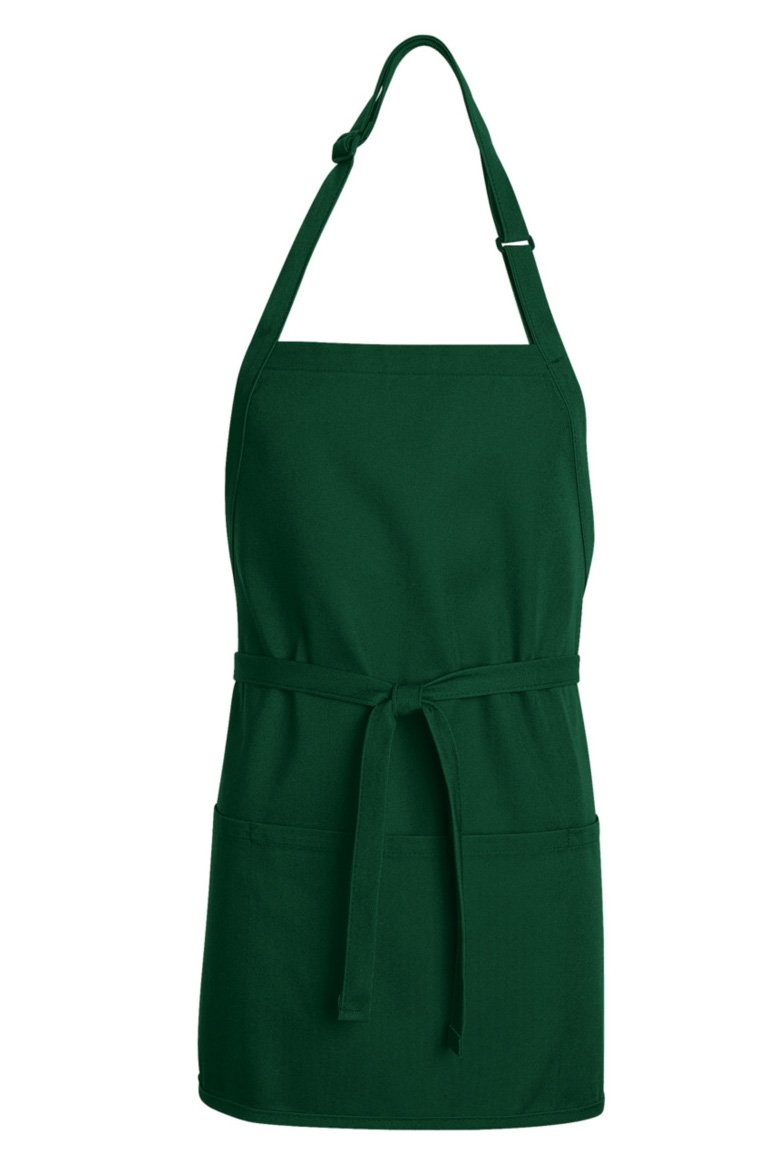 Hunter Green Premium Short Bib Adjustable Apron (3 Pockets)