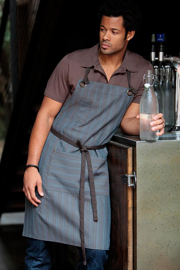 Chocolate & Blue Brooklyn Bib Apron