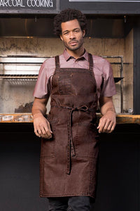 Denver Cross-Back Chocolate Rust Bib Apron