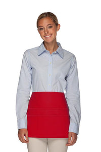 Red Rounded Waist Apron (6 Pockets)