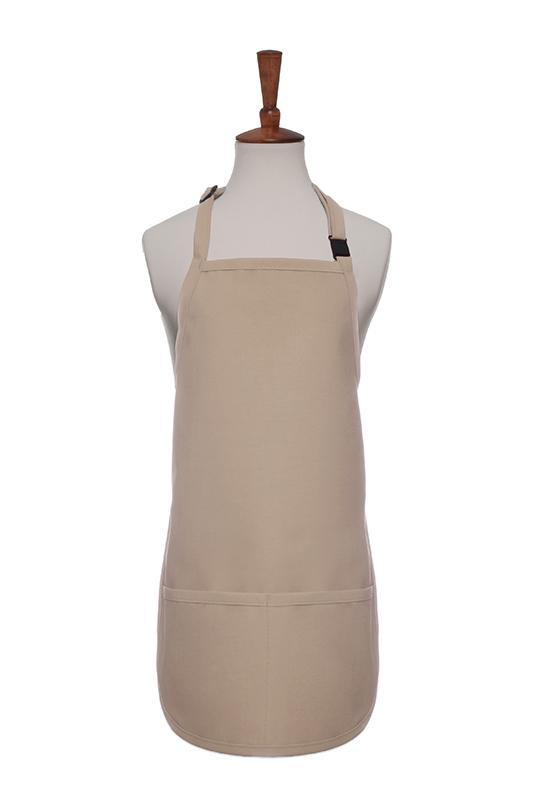 Khaki Breakaway Neck Kids Bib Adjustable Apron (2 Pockets)