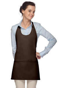 Brown Scoop Neck Bib Adjustable Apron (3 Pockets)