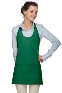 Kelly Green Scoop Neck Bib Adjustable Apron (3 Pockets)