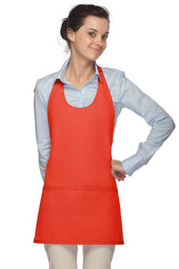 Orange Scoop Neck Bib Adjustable Apron (3 Pockets)