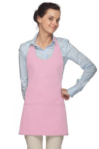 Pink Scoop Neck Bib Adjustable Apron (3 Pockets)