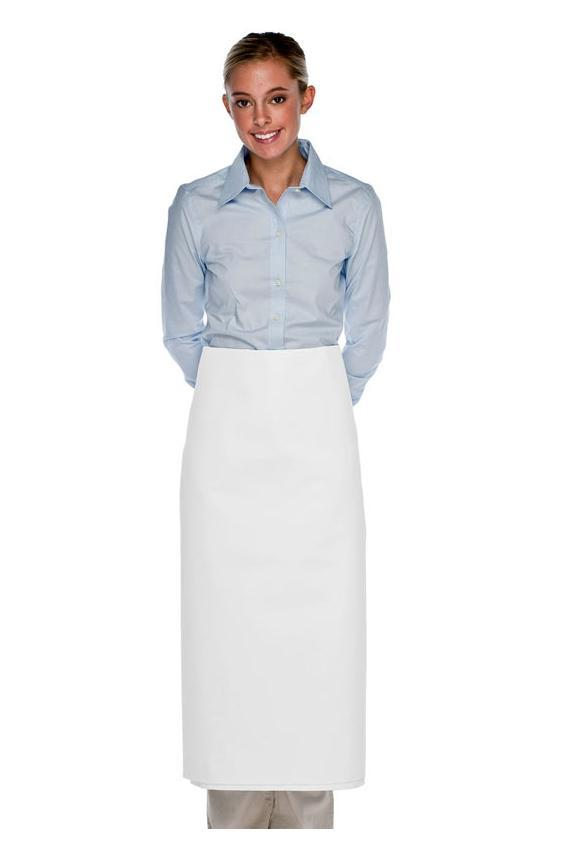 White Four Way Long Bistro Apron (No Pockets)