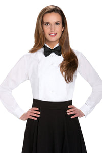 """Dina"" Women's White Pleated Wingtip Tuxedo Shirt"