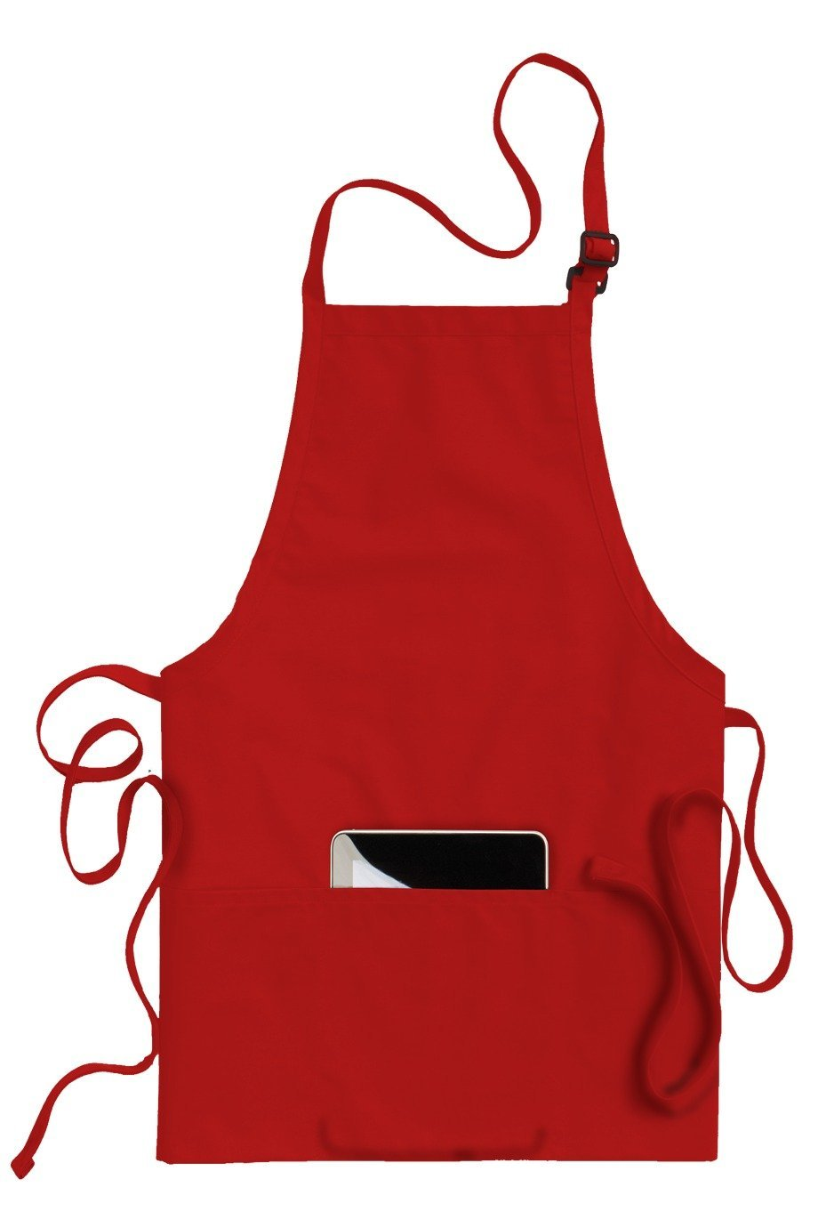 Red Bib Adjustable Apron (3 Pockets)