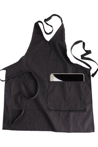 Pinstripe V-Neck Bib Adjustable Apron (2 Pockets)