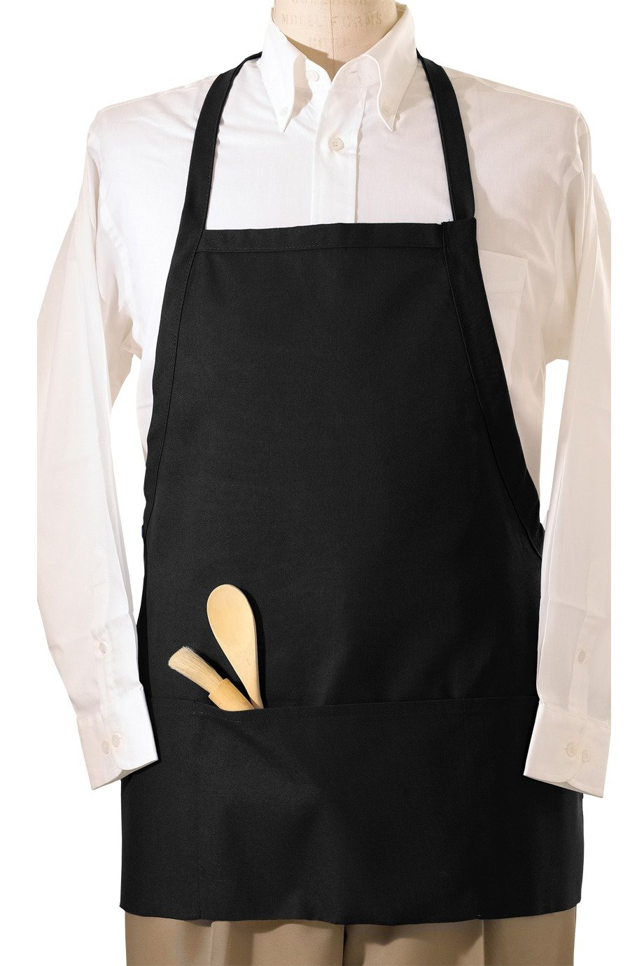 Black Bib E-Z Slide Adjustable Apron (3 Pockets)