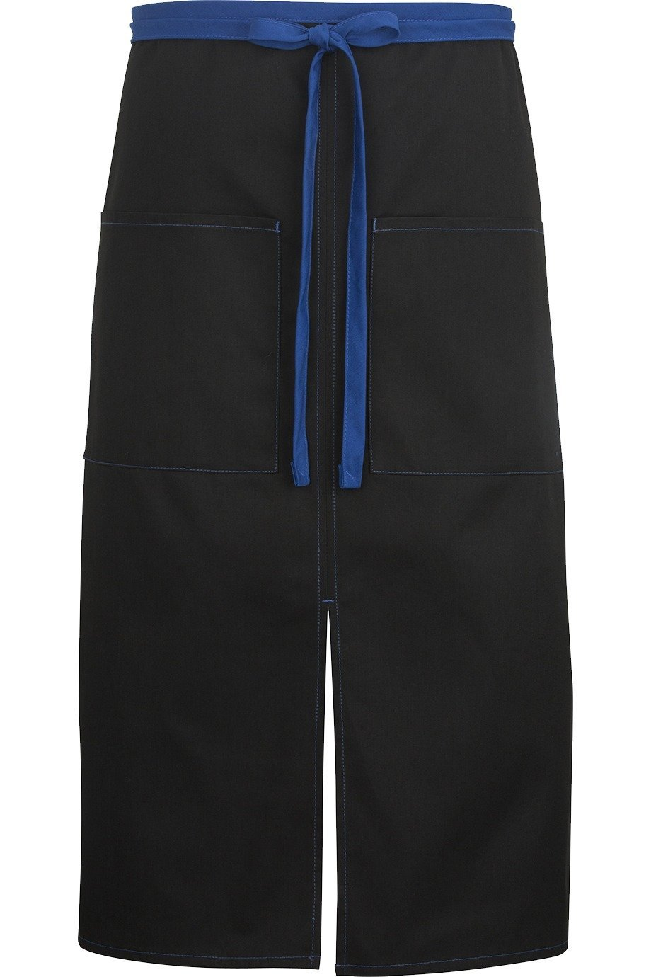 Black w/ Royal Blue Split Bistro Color Block Apron (2 Pockets)