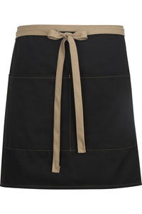 Black w/ Khaki Half Bistro Color Block Apron (2 Pockets)