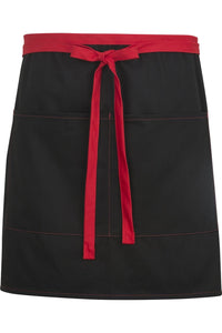 Black w/ Red Half Bistro Color Block Apron (2 Pockets)