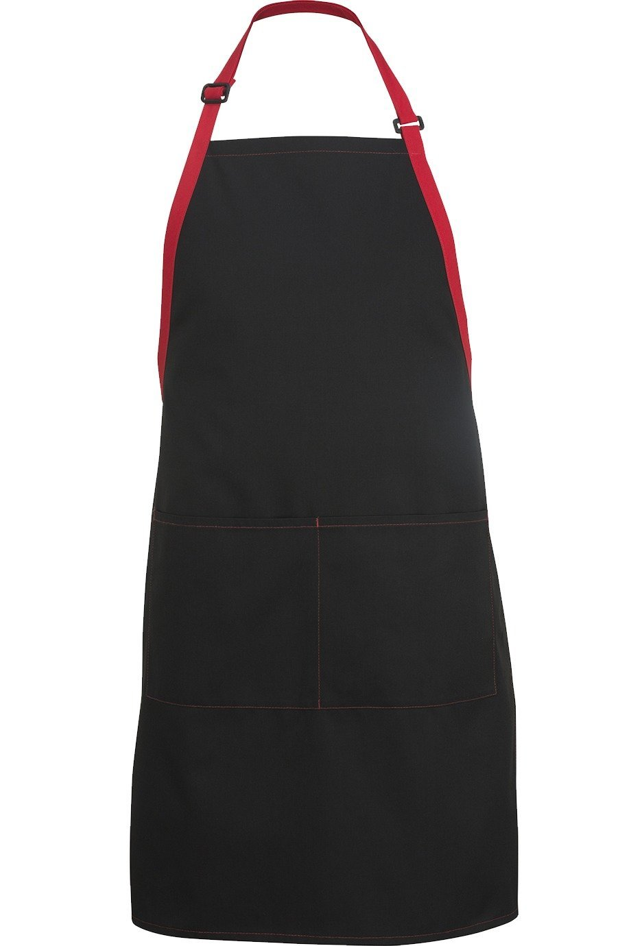 Black w/ Red Bib Color Block Adjustable Apron (2 Pockets)