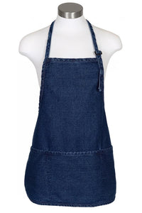 Stonewashed Denim Bib Adjustable Apron (3 Pockets)