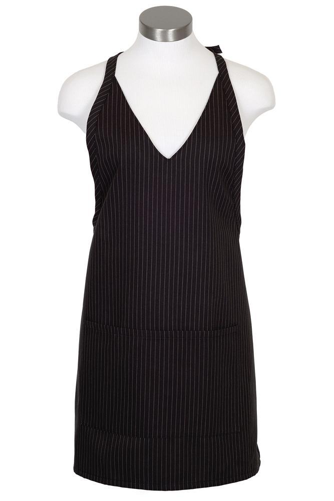 Black V-Neck Pinstripe Bib Adjustable Apron (2 Patch Pockets)