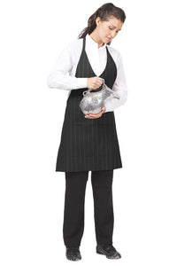 V-Neck Pinstripe Bib Adjustable Apron (2 Patch Pockets)