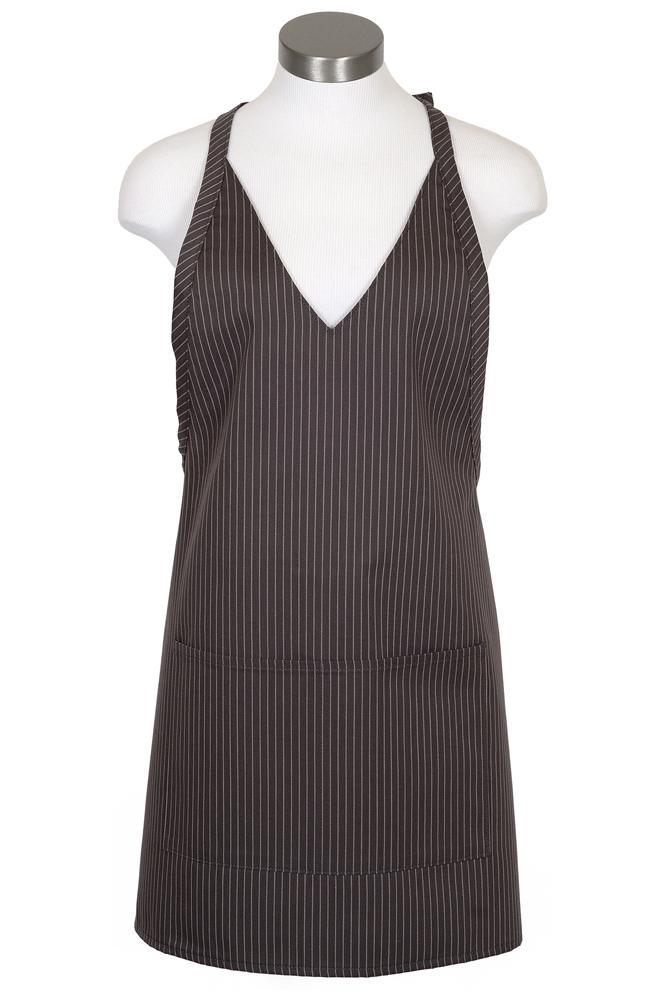 Charcoal V-Neck Pinstripe Bib Adjustable Apron (2 Patch Pockets)