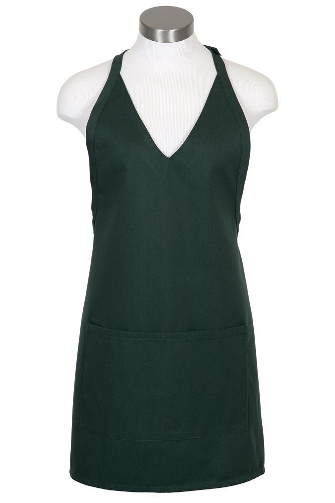 Hunter Green V-Neck Bib Adjustable Apron (2 Patch Pockets)