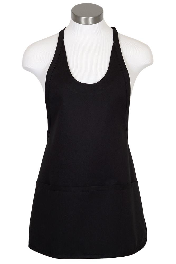 Scoop Neck Bib Adjustable Apron (3 Pockets)
