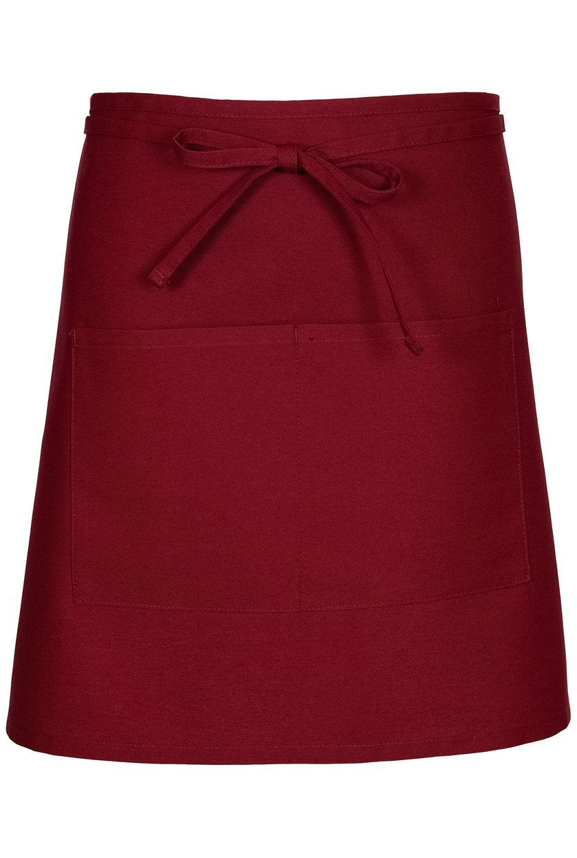 Burgundy Half Bistro Apron (2 Patch Pockets)