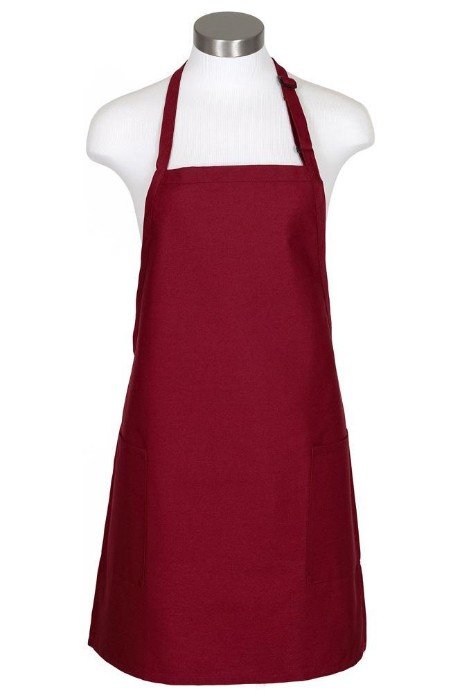 Burgundy Bib Adjustable Apron (2-Patch Pockets)