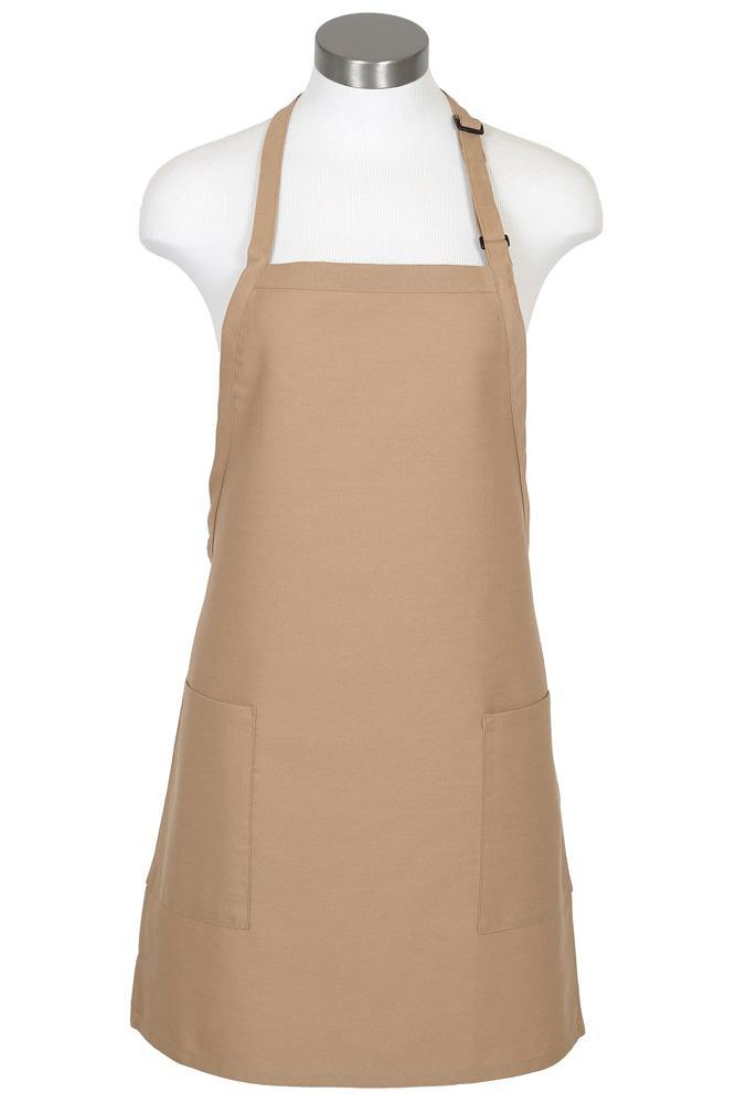 Khaki Bib Adjustable Apron (2-Patch Pockets)