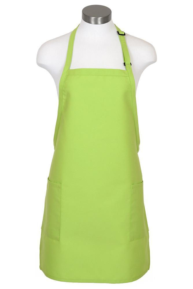 Lime Bib Adjustable Apron (2-Patch Pockets)