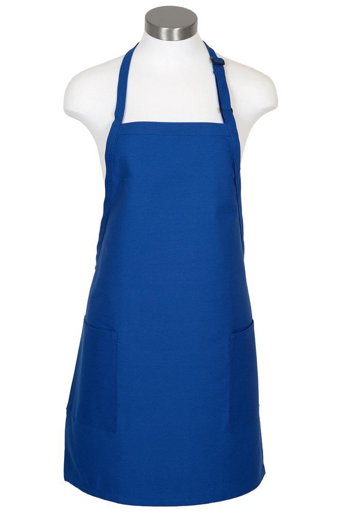 Royal Blue Bib Adjustable Apron (2-Patch Pockets)