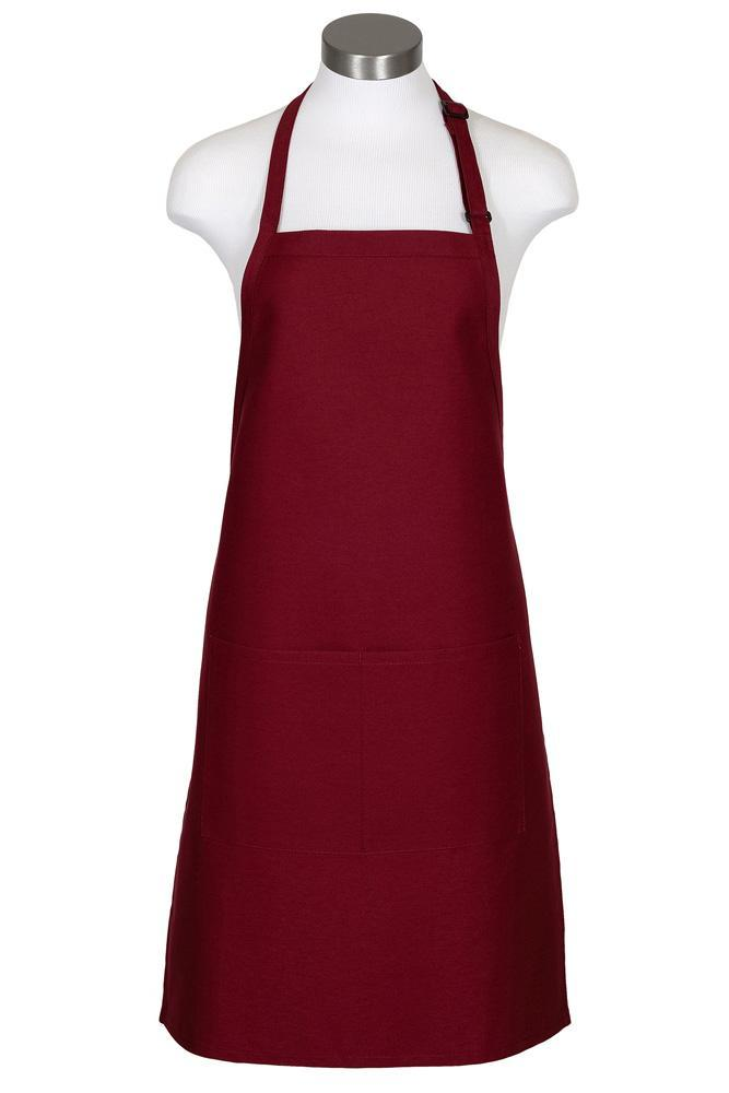 Burgundy Bib Adjustable Apron (2 Pockets)