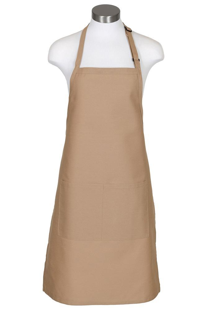 Khaki Bib Adjustable Apron (2 Pockets)
