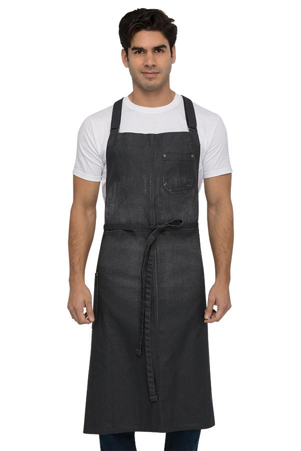 Galveston Chef's Cross-back Grey Bib Apron