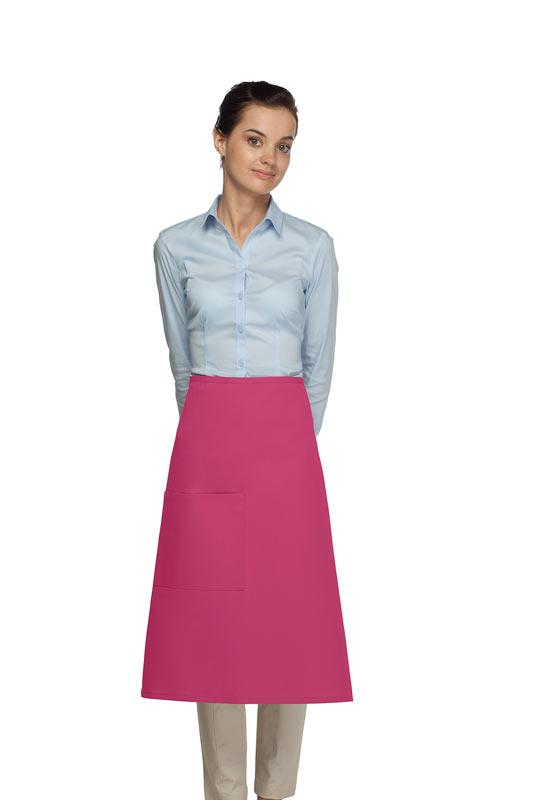 Hot Pink 1 Pocket Three Quarter Bistro Apron