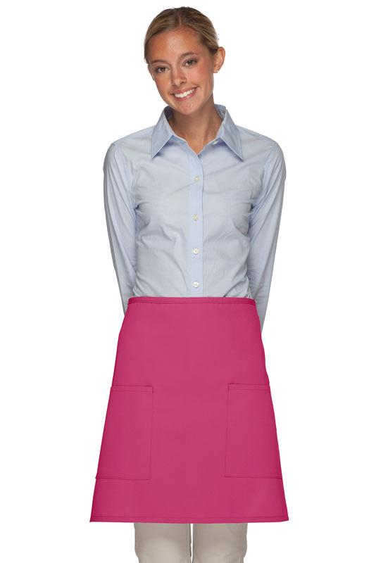 Hot Pink 2 Patch Pocket Half Bistro Apron